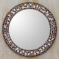 Glass mosaic wall mirror, 'Forest Mosaic' - Artisan Crafted Round Wall Mirror with Glass Mosaic Frame