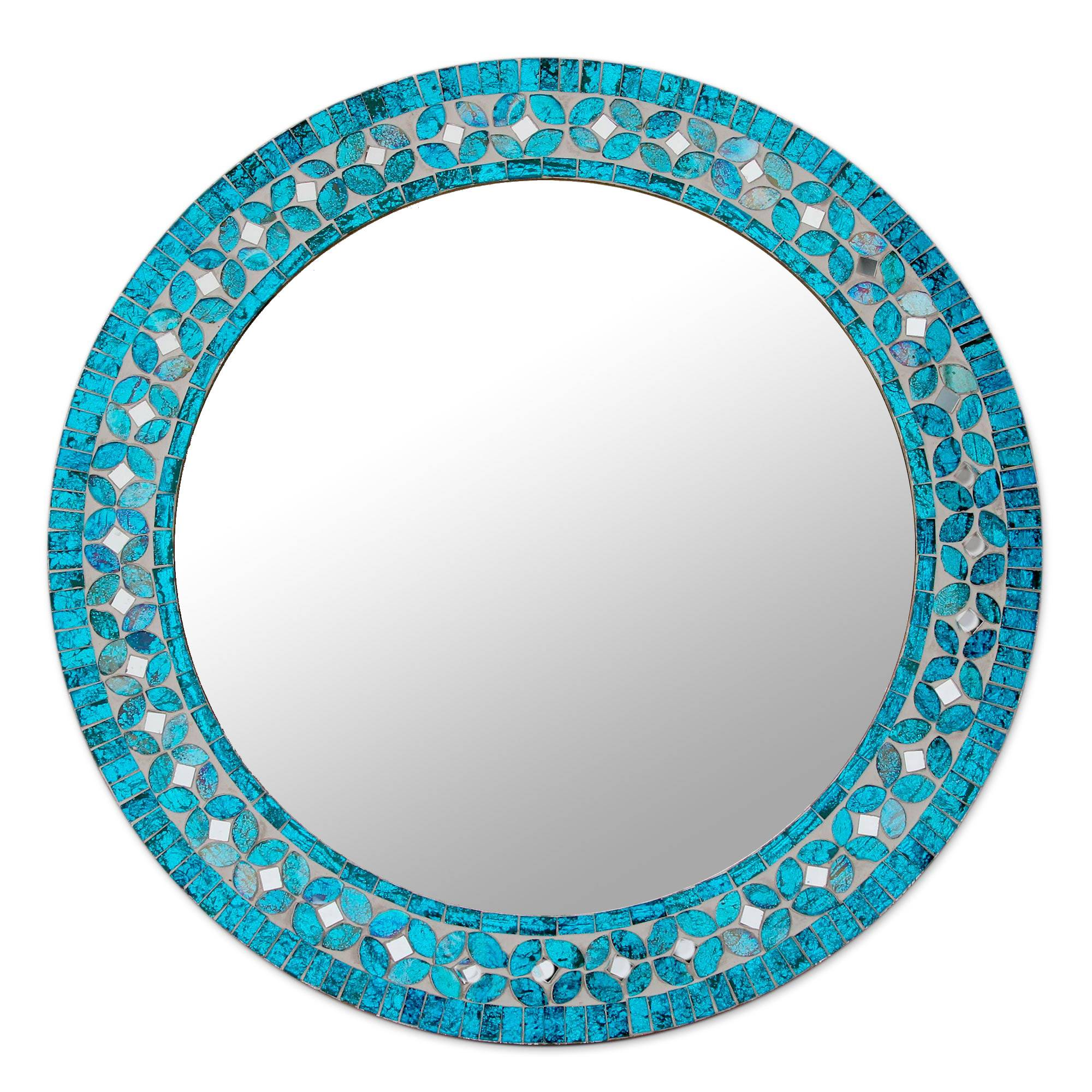 Unicef Market Round Turquoise Glass Mosaic Tile Mirror With Flower Motif Turquoise Blossom