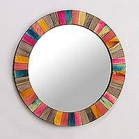 Wood wall mirror, 'Festive Holi' - Colorful Mango Wood Wall Mirror Hand Crafted in India