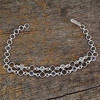 Blue topaz and iolite link bracelet,