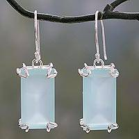 Chalcedony dangle earrings, 'Aqua Chic' - Handmade Chalcedony Dangle Earrings from India