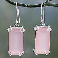 Chalcedony dangle earrings, 'Rosy Romance' - Hand Crafted Pink Chalcedony Earrings from India