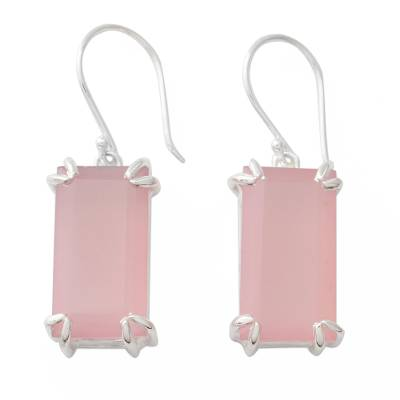 Hand Crafted Pink Chalcedony Earrings from India