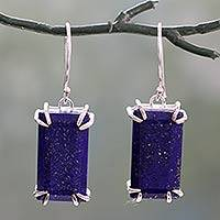 Lapis lazuli dangle earrings, 'Deep Blue Romance' - Artisan Crafted Lapis Lazuli Sterling Silver 925 Earrings