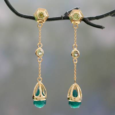 Gold vermeil amethyst dangle earrings, 'Jaipuri Green' - Handcrafted Green Onyx and Peridot 18k Gold Vermeil Earrings