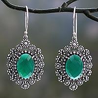 Green onyx dangle earrings, 'Jaipur Gems' - Handmade Green Onyx Dangle Earrings