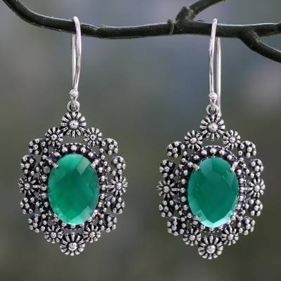Green onyx dangle earrings, 'Jaipur Gems' - Handmade Green Onyx Dangle Earrings