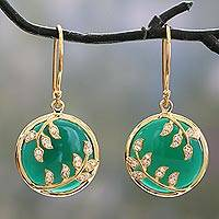 Green onyx and cubic zirconia dangle earrings, 'Eternal Embrace' - Green Onyx and Cubic Zirconia Circular Dangle Earrings