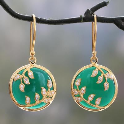 Green onyx and cubic zirconia dangle earrings, 'Eternal Embrace' - Green Onyx and Cubic Zirconia Circular Dangle Earrings