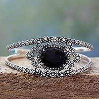 Onyx cuff bracelet, 'Black Jaipuri Gem' - Handcrafted Floral Silver 925 and Onyx Cuff Bracelet