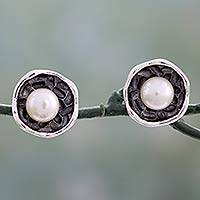 Cultured pearl button earrings, 'Cherished Bud' - Flower Themed Sterling Silver Button Earrings with Pearls