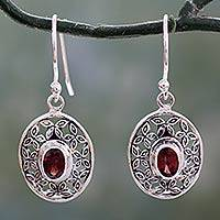 Garnet dangle earrings, 'Coy Crimson' - Flower Themed Garnet Dangle Earrings in Sterling Silver