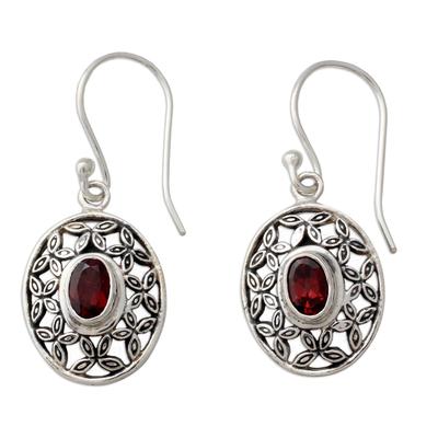 Flower Themed Garnet Dangle Earrings in Sterling Silver