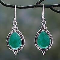 Green onyx dangle earrings, 'Evergreen Romance' - Hand Crafted Green Onyx Dangle Earrings from India