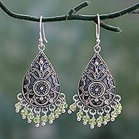 Peridot dangle earrings, 'Young Forest Ferns' - Hand Crafted Peridot Dangle Earrings from India