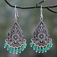 Green onyx dangle earrings, 'Glistening Fern' - Green Onyx and Sterling Silver Dangle Earrings from India