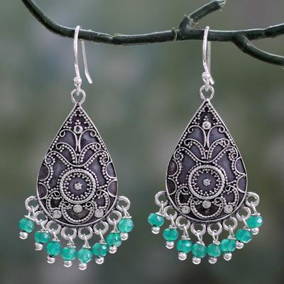 Green onyx dangle earrings, 'Glistening Fern' - Green Onyx and Sterling Silver Dangle Earrings from India