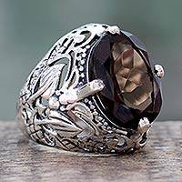 Smoky quartz ring, 'Subtle Mystique' - Smoky Quartz and Sterling Silver Ring from India