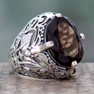 om ring silver lake zip - Smoky Quartz and Sterling Silver Ring from India