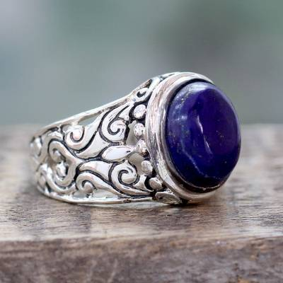 Handmade Lapis Lazuli and Sterling Silver Cocktail Ring