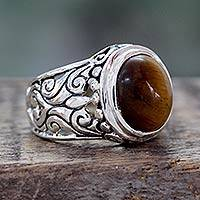 Tiger's eye cocktail ring, 'Earthy Romance' - Tigers Eye and Sterling Silver Cocktail Ring from India