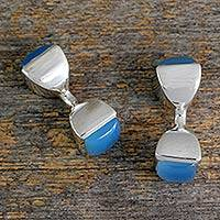 Chalcedony cufflinks, 'Sky Squared' - Men's Sterling Siver Cufflinks with Blue Chalcedony Gems