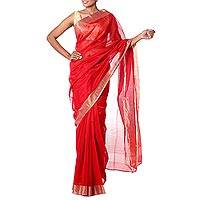 Cotton and silk sari, 'Golden Ruby' - Handwoven Red and Gold India Sari in Cotton and Silk Blend