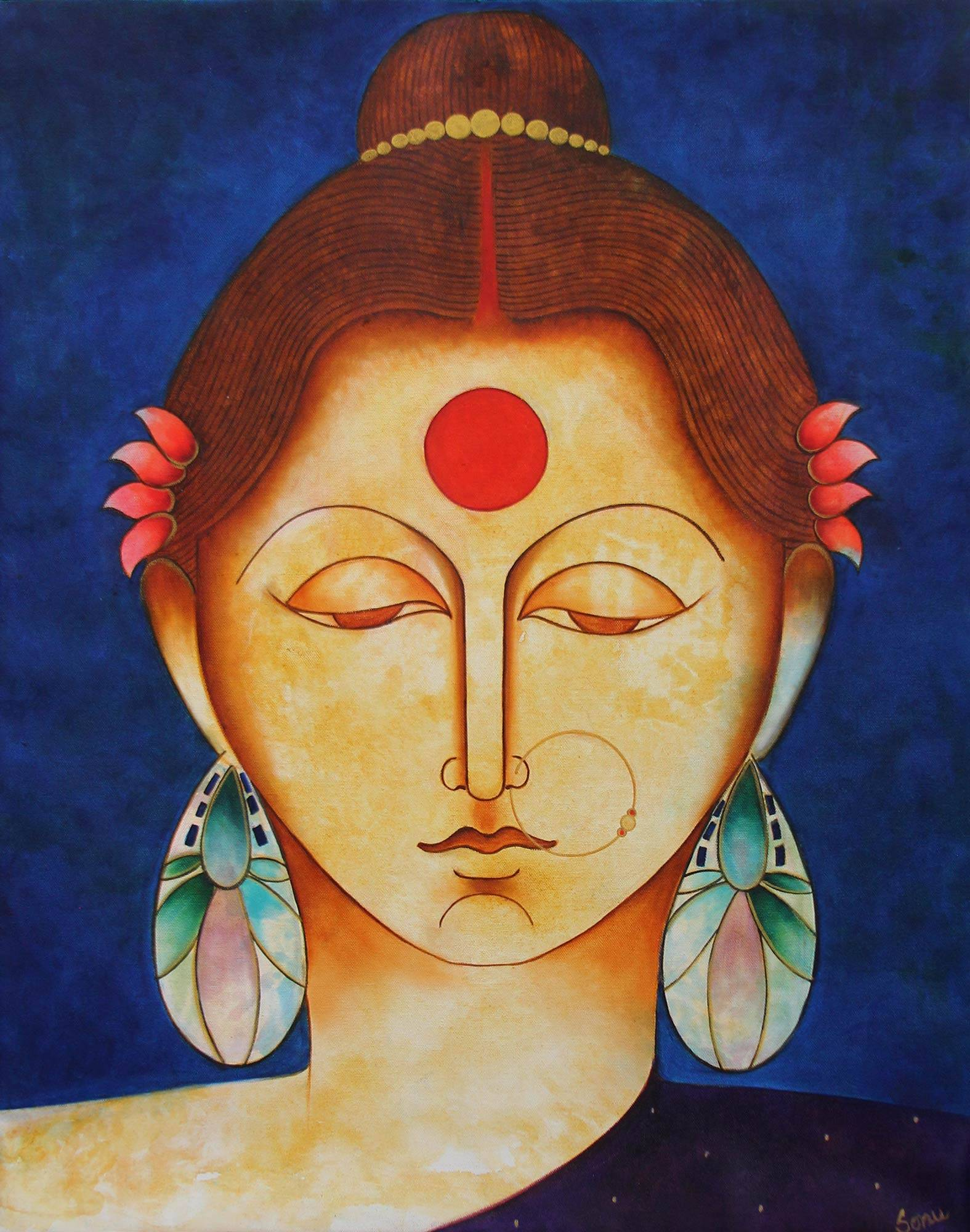 Hindu Queen Satyavati Original Fine Art Painting - Satyavati   NOVICA