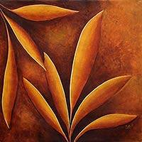 'Golden Harvest' - Original Signed Painting of Leaves in Sunset Tones