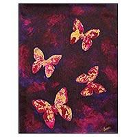 'Butterfly Dreams I' - Butterfly Theme Original Signed Painting in Burgundy