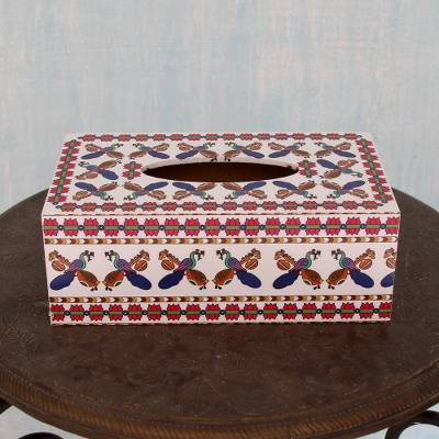 Wood decoupage tissue box, 'Veenas and Peacocks' - Hand Crafted Decoupage Wood Tissue Box Cover with Peacocks
