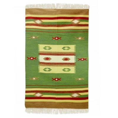 Wool area rug, 'Autumn Muse' (4x6) - Green and Multicolor Wool Area Rug Woven on Handloom (4x6)
