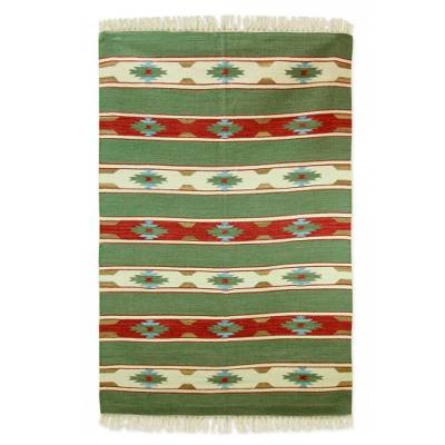 Handmade Multicolored Wool Rug With Fringe From India 4x6 Autumn Garden