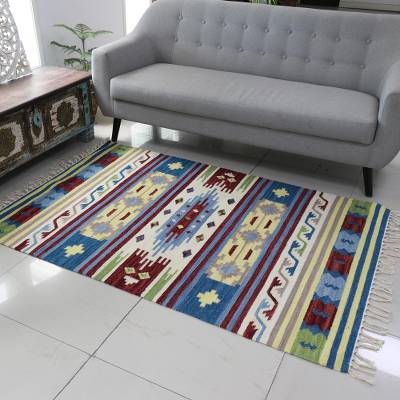 Wool area rug, 'Spring Fireworks' (4x6) - Colorful Hand Woven Wool Indian Dhurrie Rug (4x6)