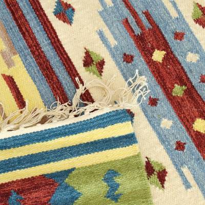Hand Woven Wool Indian Dhurrie Rug (4x6