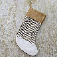 Beaded Christmas stocking, 'Golden Christmas' - Christmas Stocking with Beads, Sequins and Wide Gold-Colored