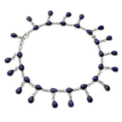 Lapis Lazuli and 925 Silver Anklet from Indian Artisan