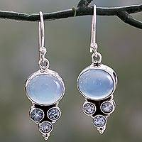 Blue topaz and chalcedony dangle earrings, 'Bubbling Stream'
