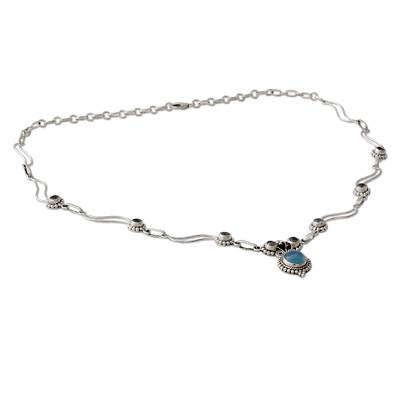 Blue Topaz and Chalcedony Silver Pendant Necklace