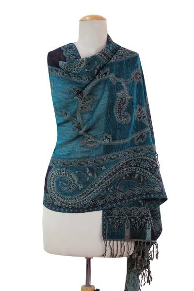 Wool shawl, 'Paisley Harmony' - Indian Wool Shawl with Paisley and Floral Motif
