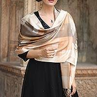 Viscose shawl, 'Earthy Story' - Indian Viscose Shawl with Geometric Pattern