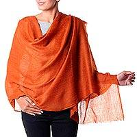 Wool shawl, 'Earthy Panache' - Jacquard Weave Sienna Wool Shawl from Indian Artisan