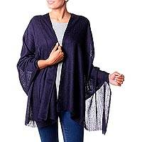 Wool shawl, 'Midnight Panache' - Indian Midnight Blue Paisley Weave Wool Shawl for Women