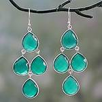 Handmade Green Onyx and Sterling Silver Chandelier Earrings, 'Evergreen Chandelier'