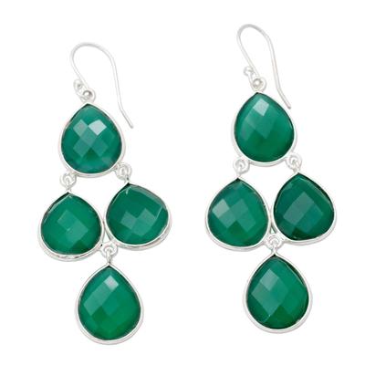 Handmade Green Onyx and Sterling Silver Chandelier Earrings