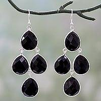 Onyx chandelier earrings, 'Midnight Chandelier' - Indian Black Onyx and Sterling Silver Chandelier Earrings