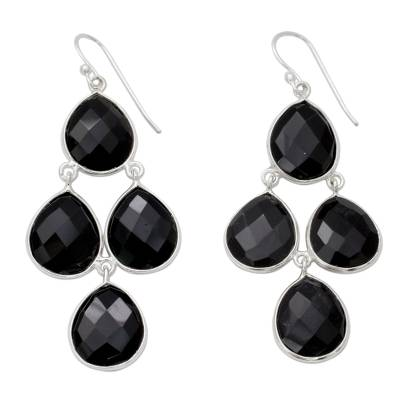 Indian Black Onyx and Sterling Silver Chandelier Earrings