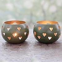 Steel tealight holders, 'Moss Green Hearts' (pair) - Hearth Themed Tealight Holders in Moss Green (Pair)