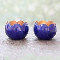 Steel tealight holders, 'Royal Scallop' (pair) - Antiqued Royal Blue Steel Tealight Holders (Pair)