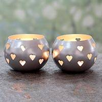 Steel tealight holders, 'Silver Hearts' (pair) - Heart Themed Silver Finish Metal Tealight Holders (Pair)
